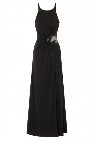 Black Lace Applique Maxi Dress