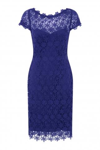 Blue Crochet Lace Dress With V-Neck Detail