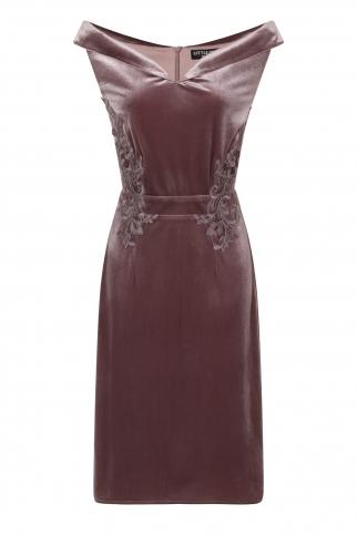Mink Velvet Off The Shoulder Dress