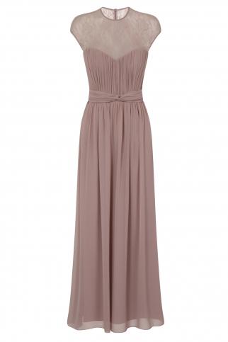 Mink Sheer Lace Maxi Dress