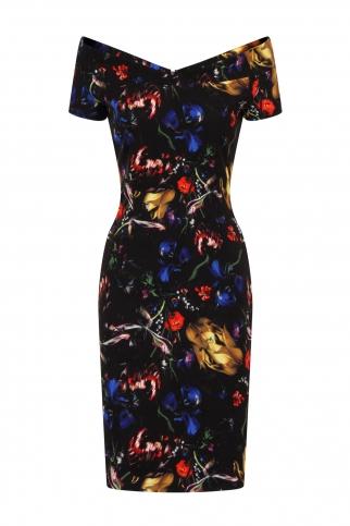 Abstract Floral Print Bardot Dress