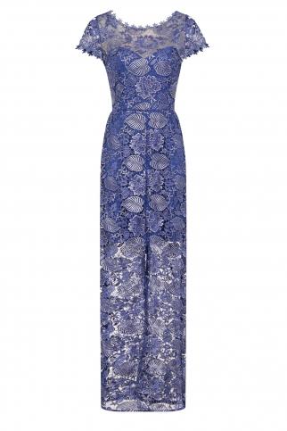 Metallic Blue Crochet Maxi Dress