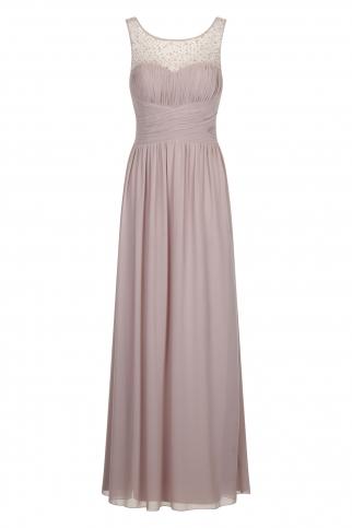 Mink Embellished Neck Maxi Dress