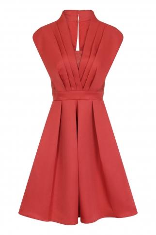 Terracotta Pleat Prom Dress
