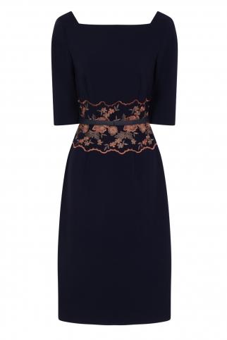 Navy Embroidered Waist Dress