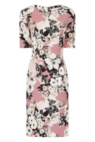 Rose Lily Print Wiggle Dress