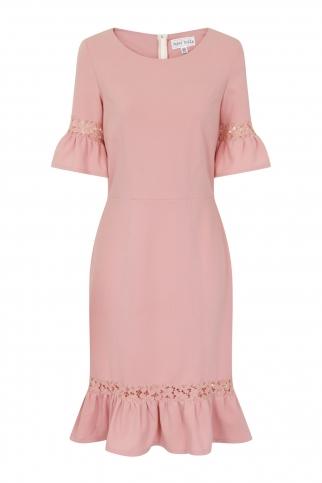 Rose Lace Panel Peplum Dress