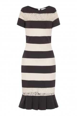 Charcoal And Cream Stripe Dress