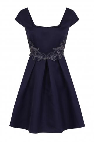 Navy Crochet Waist Prom Dress