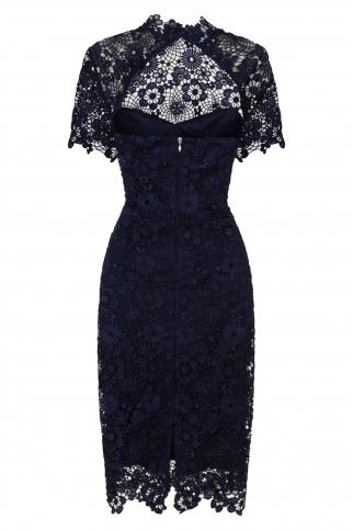 Navy Daisy Crochet Dress