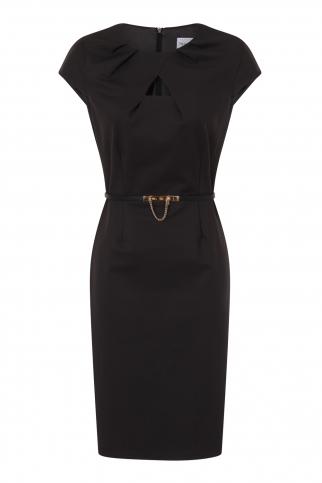 Charcoal Keyhole Pleat Dress