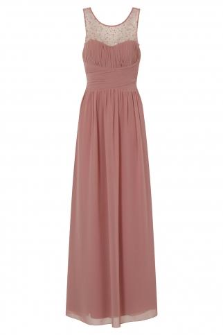Peach Embellished Maxi Dress