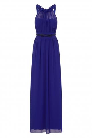 Cobalt Blue Corsage Gathered Waist Maxi Dress