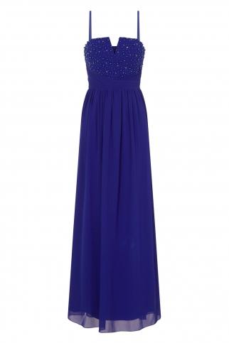 Cobalt Blue Embellished Bandeau Maxi Dress