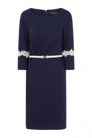 Navy Pleat Dress
