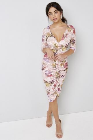 Ruched Print Dress
