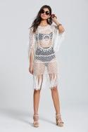 Cream Fringed Crochet Mini Dress