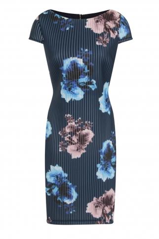 Multi Rose Print Cap Sleeve Dress