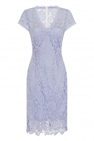 Powder Blue Crochet Lace Pencil Dress