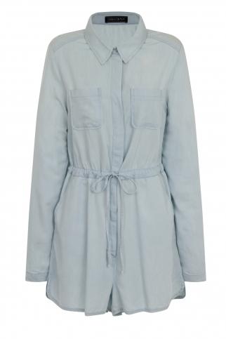 A light blue denim shirt playsuit