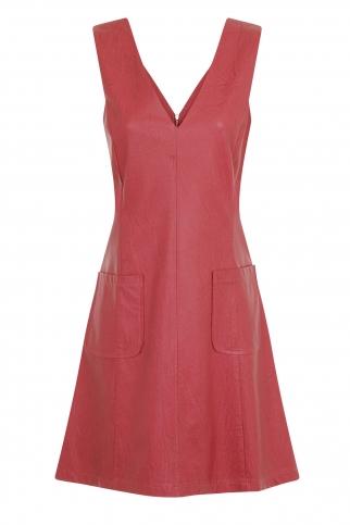 Rasberry faux Leather Dress