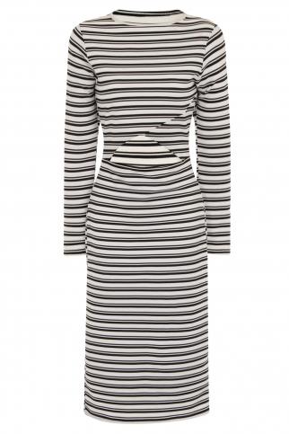 Monochrome Stripe Cut Out Body-Con Dress