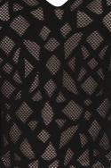 Black Sheer Pattern Crop Top