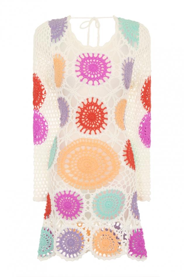 Multi Colour Crochet Knit Mini Dress